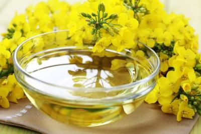 Kwiaty rzepaku i olej rzepakowy